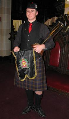 Richard Gillies with the Sherriff Banner and Dunbar Trophy